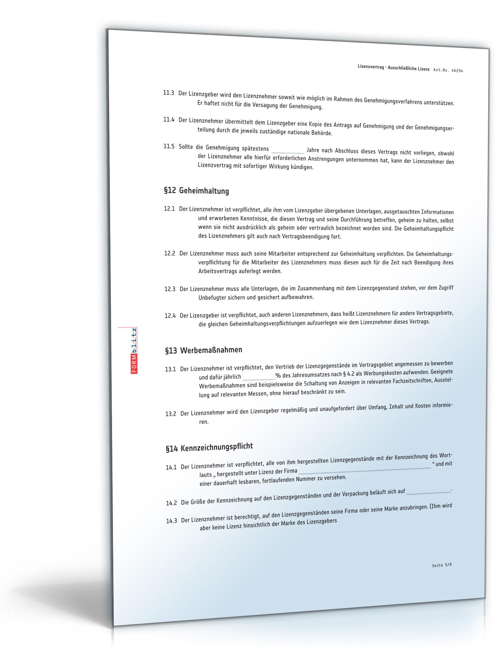 lizenzvertrag ausschlieliche lizenz pdf download amazonde software - Lizenzvertrag Muster