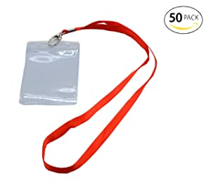 Shenglong 50 Pcs Waterproof Type Clear Plastic Vertical Name Tag Badge Id Card and 50 Pcs Red Lanyard