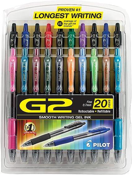 Pilot G2 - Bolígrafos retráctiles de tinta de gel, color Assorted ...