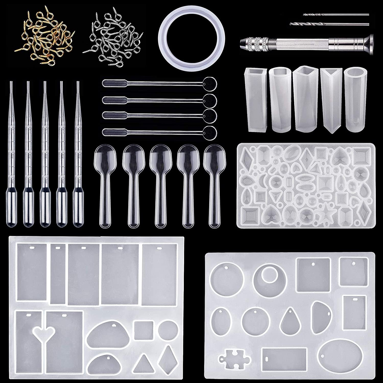 Resin Moulds for Jewellery Making Kit for Resin DIY Craft Diealles Shine127Pcs Resin Casting Molds and Tools Set
