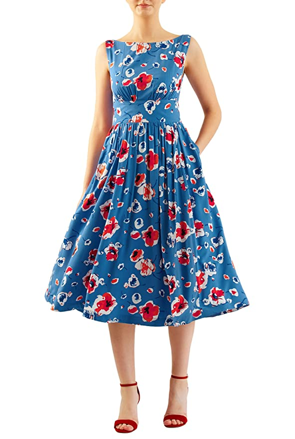 Vintage Inspired Clothing Stores eShakti Womens Floral print cotton modal ruched pleat dress $59.95 AT vintagedancer.com