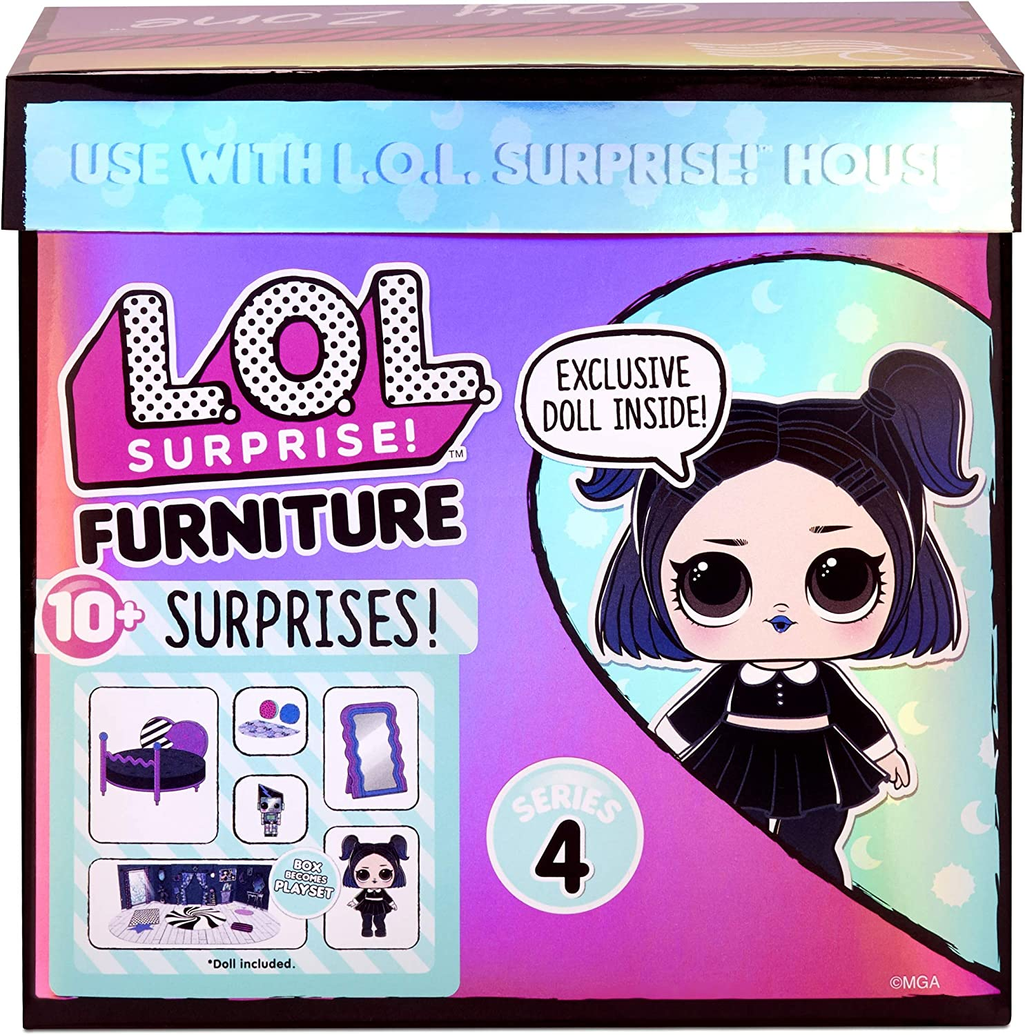 LOL Surprise Furniture Cozy Zone with Dusk Doll and 10+ Surprises, Doll Bedroom Furniture Set, Accessories