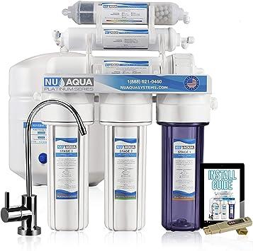 Nos Aqua Platinum Serie 100 GPD 6-stage Undersink Ultimate de ósmosis inversa alcalinas Mineral PH + equilibrado ...