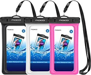 MoKo Floating Waterproof Phone Pouch [3 Pack], Floatable Phone Case Dry Bag with Lanyard Armband Compatible with iPhone 11/11 Pro, X/Xs/Xr/Xs Max, 8/7 Plus, Samsung S10/S9/S8 Plus, S10e, S20, Note 10
