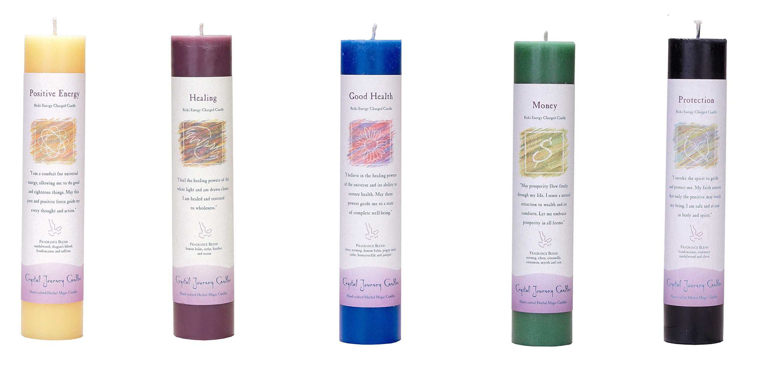 Crystal Journey Reiki Charged Herbal Magic Pillar Candle with Inspirational Labels - 5 Pack (Positive Energy, Healing, Good Health, Money, Protection) Each 7''x1.5'' handcrafted with lead-free materials