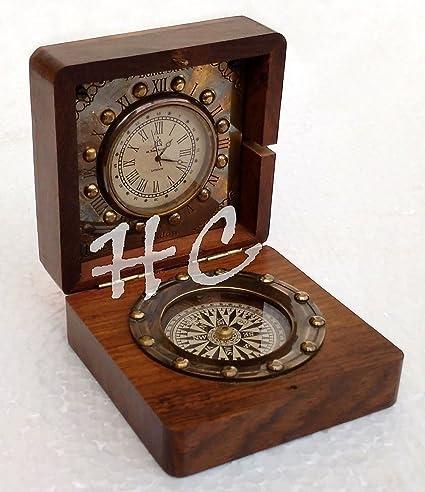 "Brass Desk Clock 3"" Nautical Ship Compass & Antique Pocket Watch ... - Amazon.com: Brass Desk Clock 3"