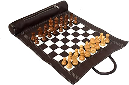Wigano 19X15 Vintage Leather Chess Set with 3 King Size Chess Pieces and Roll-Up Attachable Vinyl Leather Chess Bag (Brown)