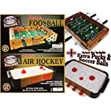 Matty's Toy Stop Deluxe Wooden Mini Table Top Air Hockey and Foosball Bundle Gift Set, 2-Pack