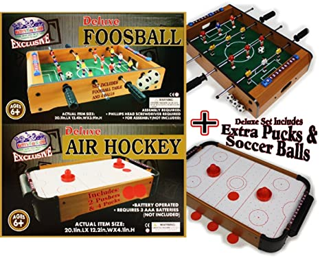 Mattyu0027s Toy Stop Deluxe Wooden Mini Table Top Air Hockey And Foosball  Bundle Gift Set,