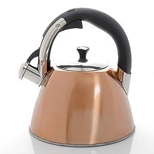 Mr. Coffee 111928.01 Belgrove Stainless Steel Whistling Tea Square Kettle, 2.5-Quart, Metallic Copper