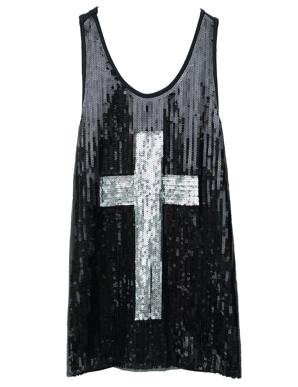 Flapper Girl Glam Sequins Cross Tank Top Vest Nightclub Camisole Vest Shirt