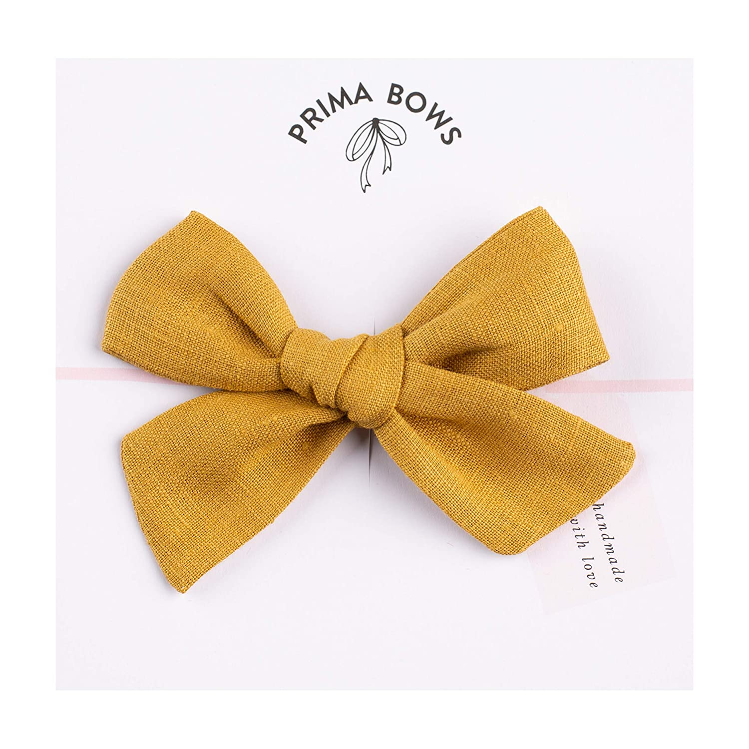 Handmade Linen Fabric Bows For Girls, For Newborns Through Toddlers (1 Size Fits All) - Prima Bows Alligator Clip)