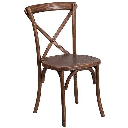 Amazon.com: Flash Furniture HERCULES Series Stackable Pecan Wood Cross Back  Chair: Kitchen U0026 Dining