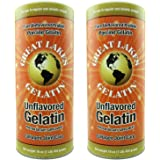 Great Lakes Unflavored Gelatin, Regular, 16-Ounce Can (Pack of 2)