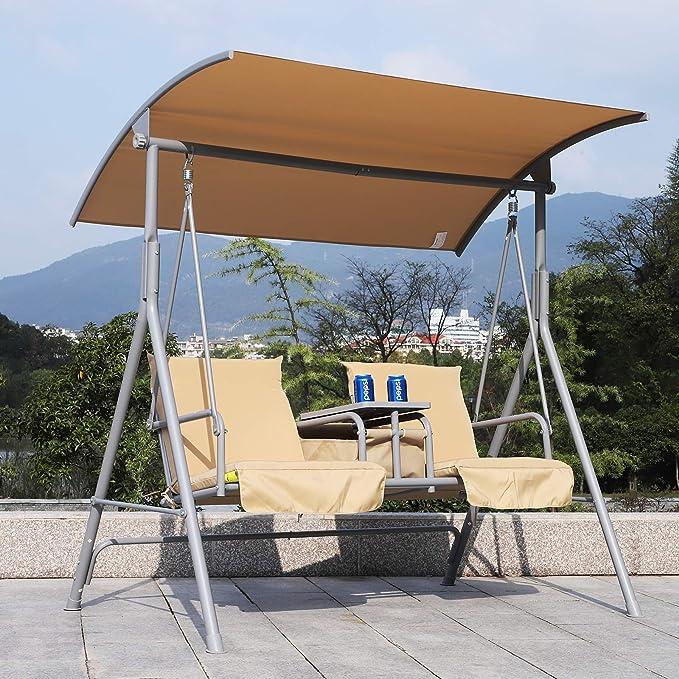 Outsunny – Balancín de 2 plazas, con baldaquino para Exterior, con Asiento Acolchado Banco y Bebidas Bandeja, Beige: Amazon.es: Jardín