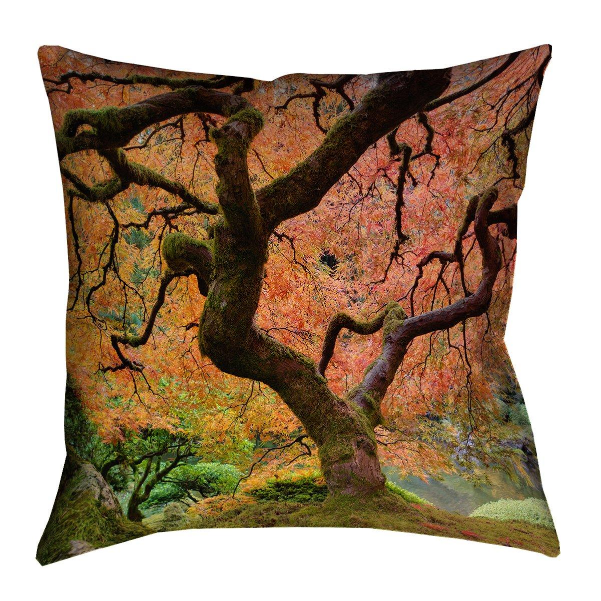 14 x 14 ArtVerse DUA001P1414D Justin Duane Japanese Maple Tree Pillow