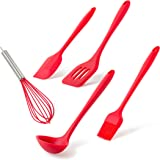 Kitchen Utensils Set of 5 for Multiple Uses: Baking, Cooking, Food Preparation & More - Non-Stick & Heat-Resistant - Includes Spatula, Ladle, Whisk, Turner and Brush