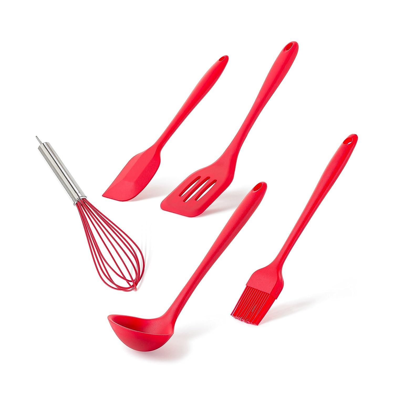 Juego de 5 utensilios de cocina de silicona para múltiples usos: hornear, cocinar, preparación de alimentos y mucho más. Antiadherente y resistente al ...