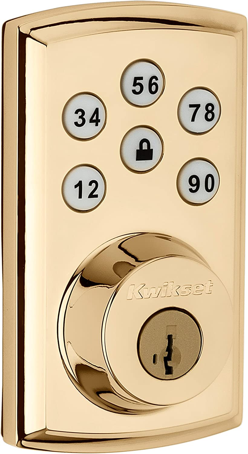 Kwikset 98880-006 SmartCode 888 Smart Lock Touchpad Electronic Deadbolt Door Lock with Z-Wave Plus Featuring SmartKey Security in Polished Brass