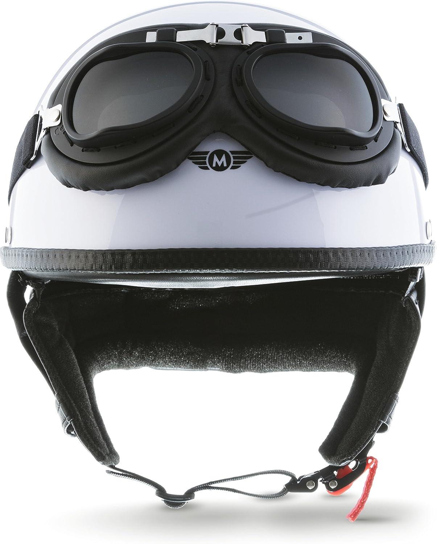 bol Moto Helmets Set D22/ avec housse en plastique et lunettes de pilote incluses /Casque de moto Vespa Bobber style vintage