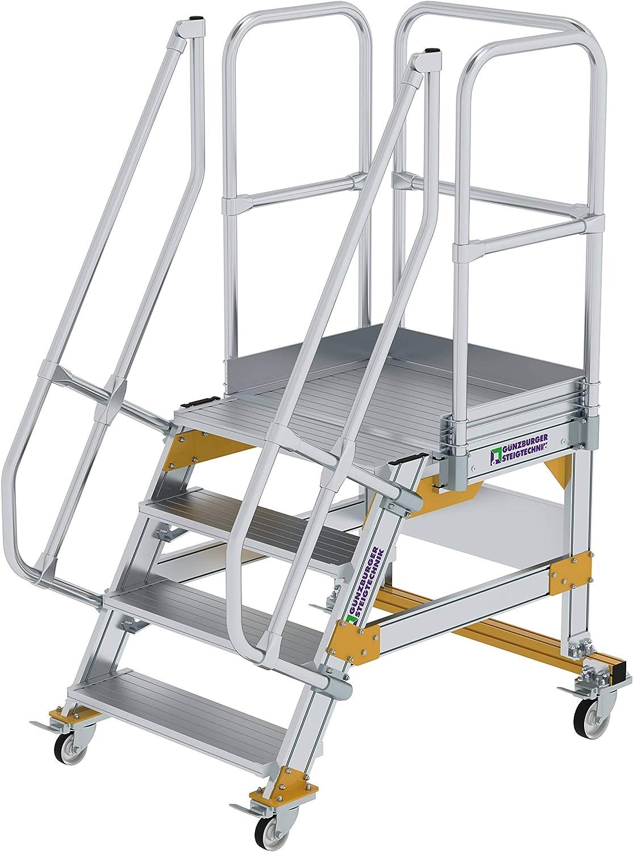 GÜNZBURGER STEIGTECHNIK Escalera de plataforma de aluminio móvil 60° 4 peldaños: Amazon.es: Bricolaje y herramientas