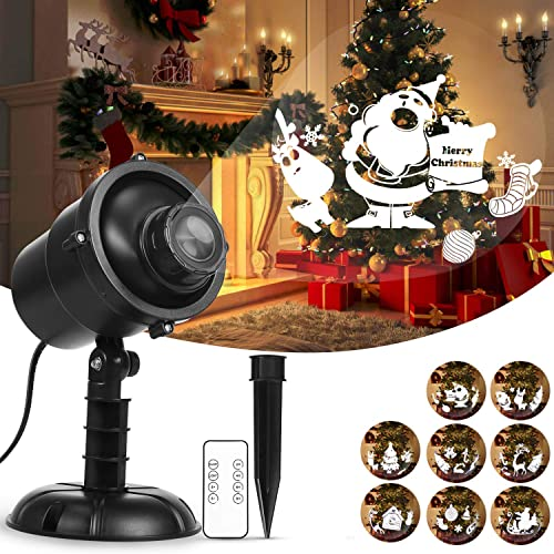 Christmas LED Projector Lights Water Wave Landscape Lamp Xmas Pattern Rotating Projector with Remote Control for Xmas Home Birthday Party Landscape Decorations