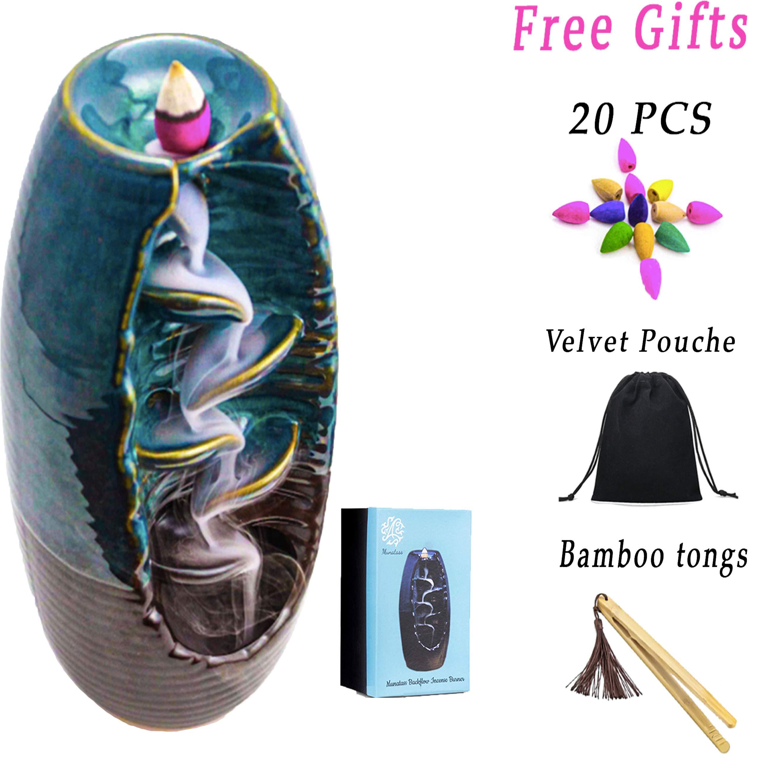 Munatass Ceramic Backflow Incense Holder - Handmade Waterfall Incense Burner Ornament Perfect for Aromatherapy, Home, Decor, Yoga, Spa & Meditation - with 20 Free Incense Burner Cones by Munatass