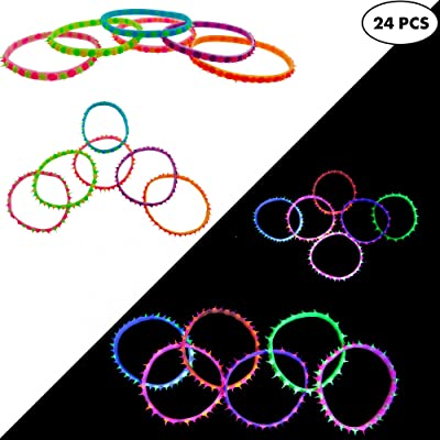 24 Glow In The Dark EDM Rave Bracelets for Women & Men, UV Black Light Rave Accessories, EDM Music Festival Clothing Gear Pack, Sleepaway Camp Care Package for Girls & Boys, Camping Party Favors: Toys & Games
