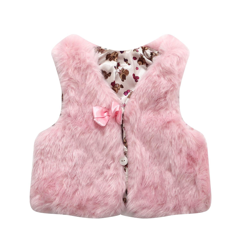Richie House Girls' Faux Fur Vest with Bow RH0792