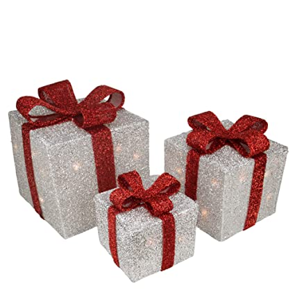 Lighted Christmas Boxes Decoration.Amazon Com Northlight Set Of 3 Silver Tinsel Gift Boxes