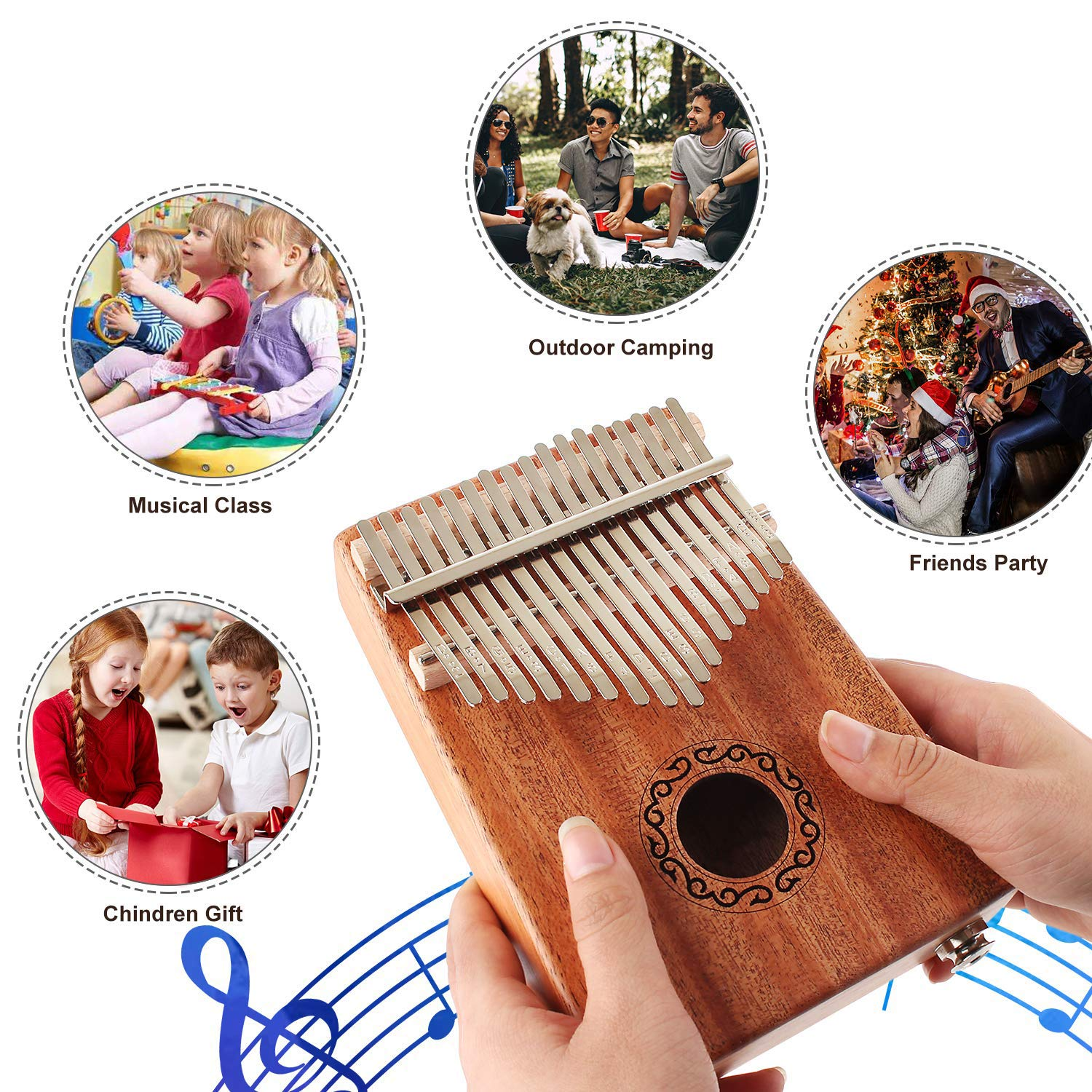 CXhome Electric Kalimba 17 Key Thumb Piano,Mbira African Mahogany Finger Piano Pickup with 6.35mm Audio Interface Sanza Hand Kit, Likembe Musical Instruments for beginners or professioners by CXhome (Image #6)