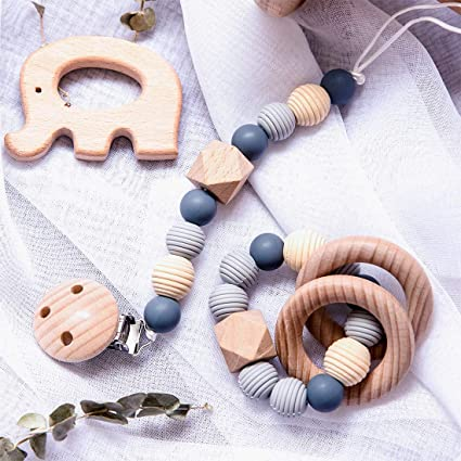 toy Newborn Wooden Chewable Pacifiers Teethers Beads Rattle  Baby Bracelet