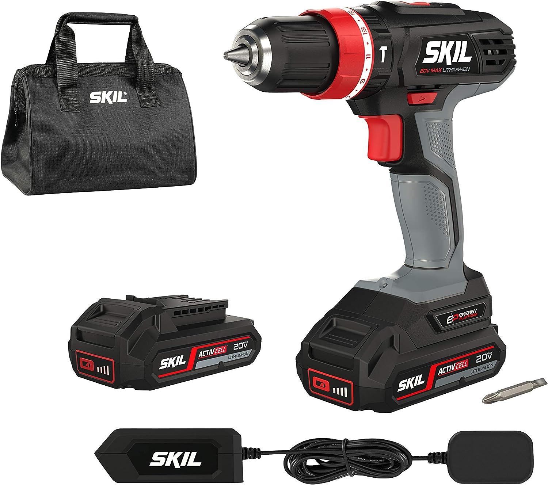SKIL F0152844AR 2844 AR percutor (2,0 Ah, 18 V, con función de Taladro de percusión, portabrocas de 10 mm, Incluye 2 baterías y Cargador), Gris