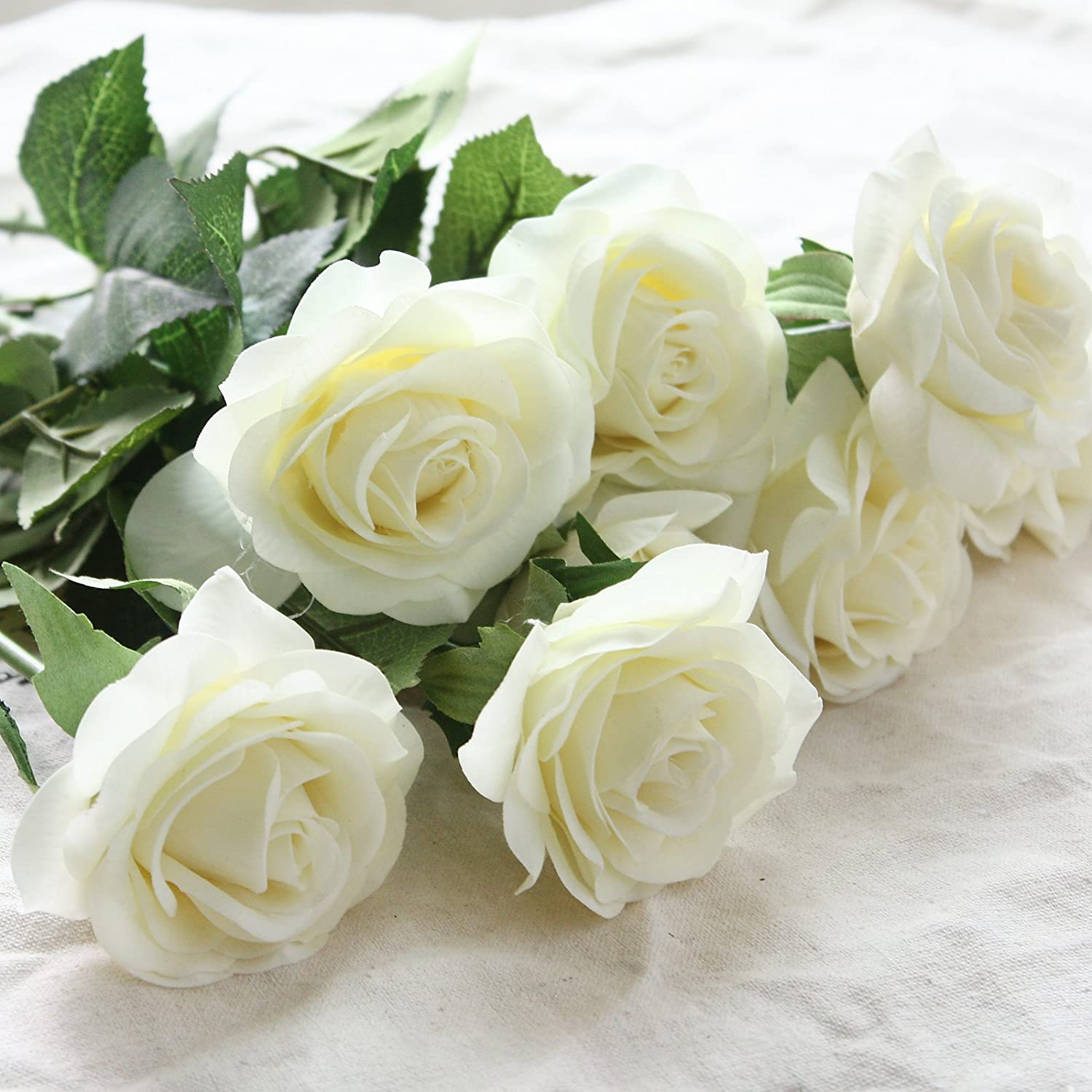 Amazon artificial silk flowers rose flowers with green leaves amazon artificial silk flowers rose flowers with green leaves real touch flower bouquet for homeoffice partywedding decoration and festival white izmirmasajfo Gallery