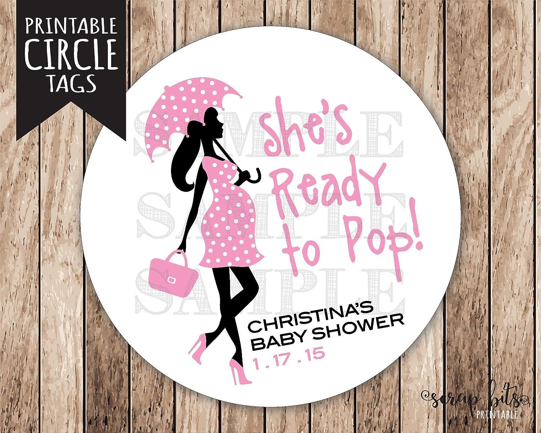 Moira 印刷可能 すぐにポップなタグ付き カスタマイズ可 プリント可能 妊娠中の女性 ベビーシャワータグ 女の子 ポップタグ付 女の子 ベビーシャワータグ B07JMDKR26