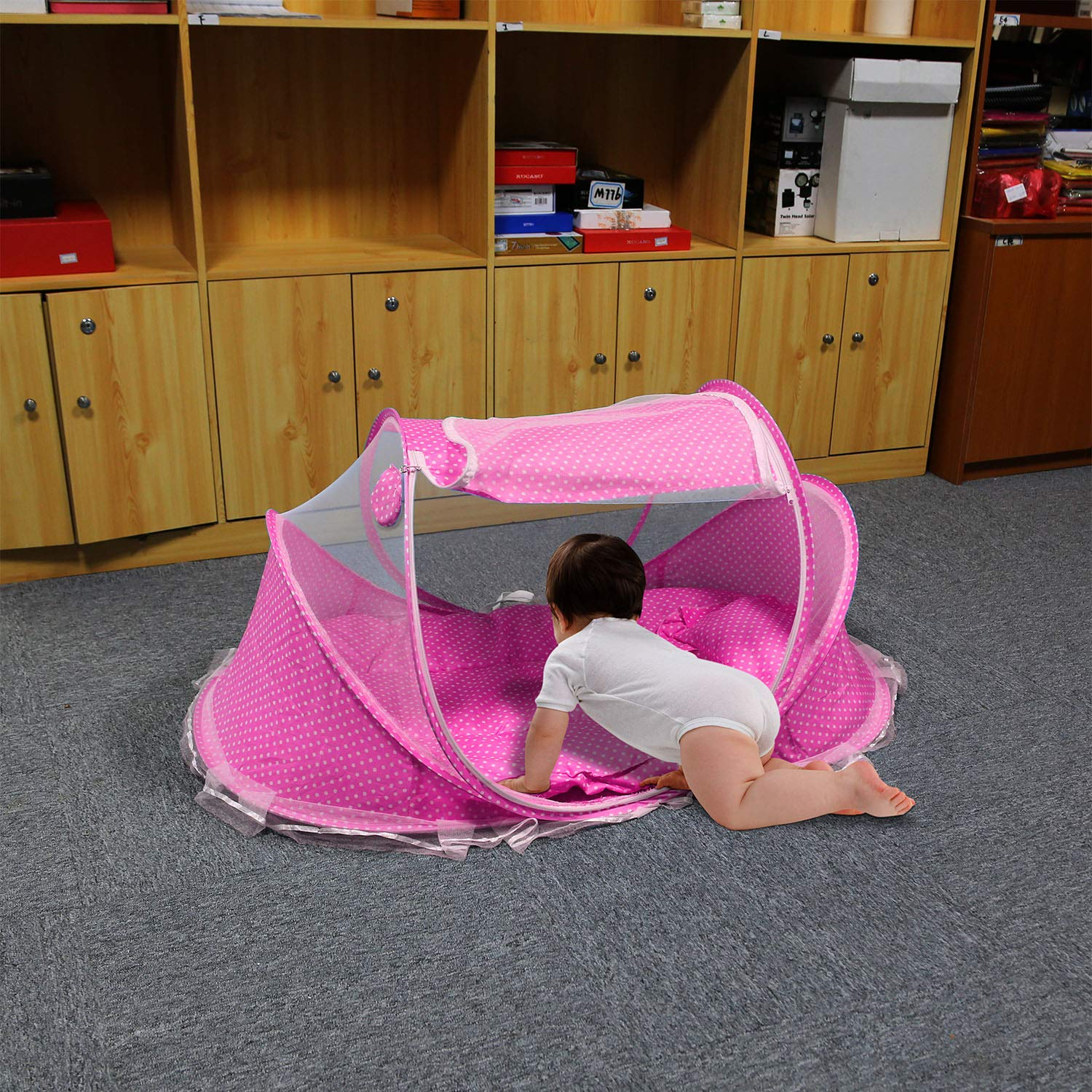 Mattress Pillow Music Box Mesh Bag Portable Sun Shelters Infant Toddlers Children Beach Travel Crib- Pink GPCT Foldable Baby Mosquito Travel Net Tent Keeps Insects Out Includes Mosquito Tent