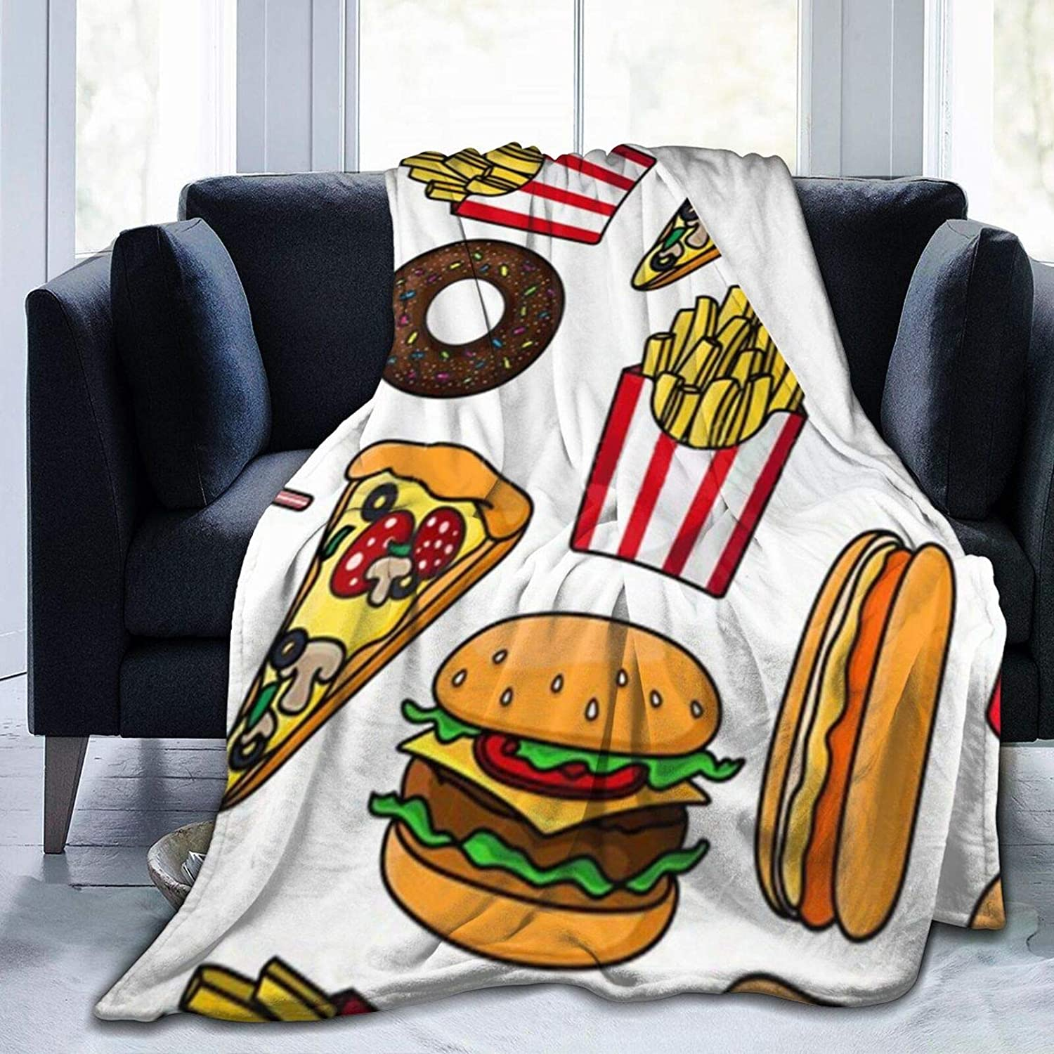 Junk Food Drink Pattern Cheeseburger and Drink Blanket Ultra-Soft Micro Fleece Blanket Throw Super Soft Fuzzy Lightweight Blanket for Bed Couch Living Room,60