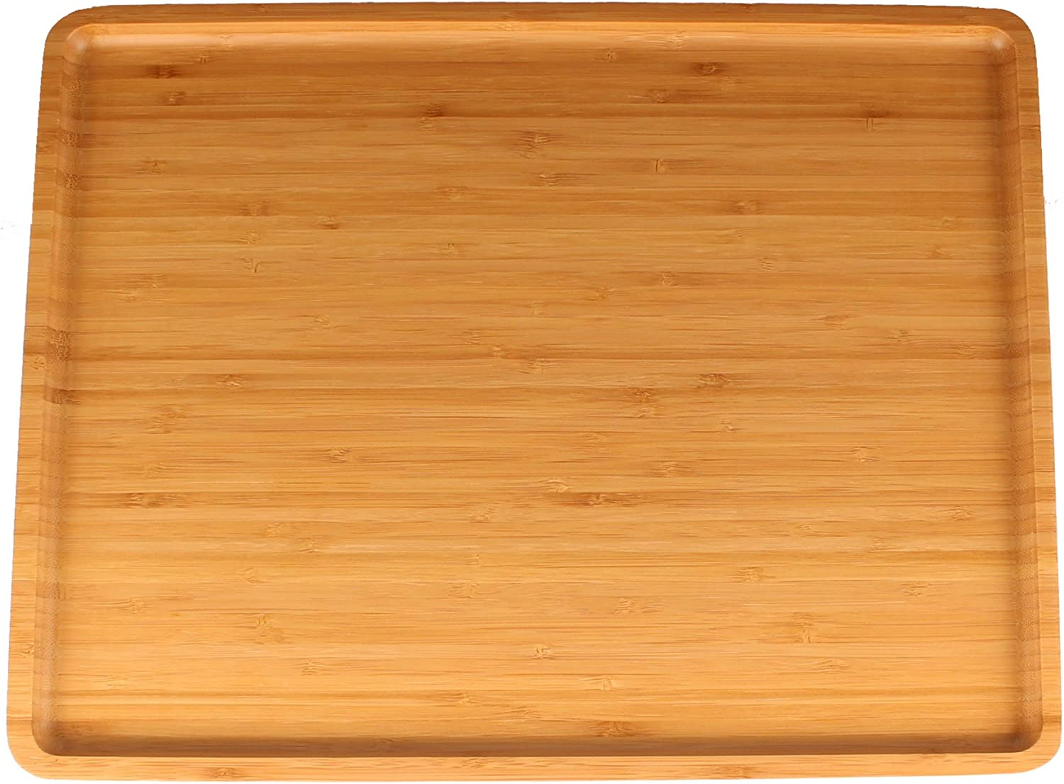 """Organic Bamboo Serving Tray - 17""""x13""""x0.75"""" - Rounded Edges - 1 Piece"""