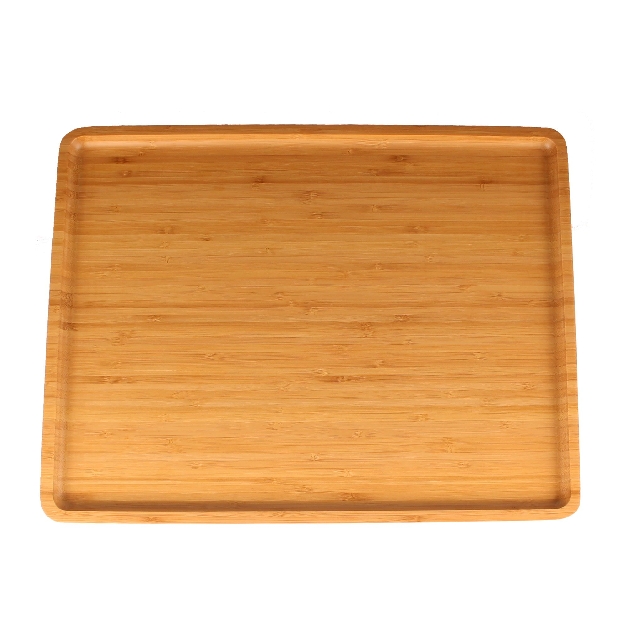 Organic Bamboo Serving Tray - 17''x13''x0.75'' - Rounded Edges- 10 Pieces