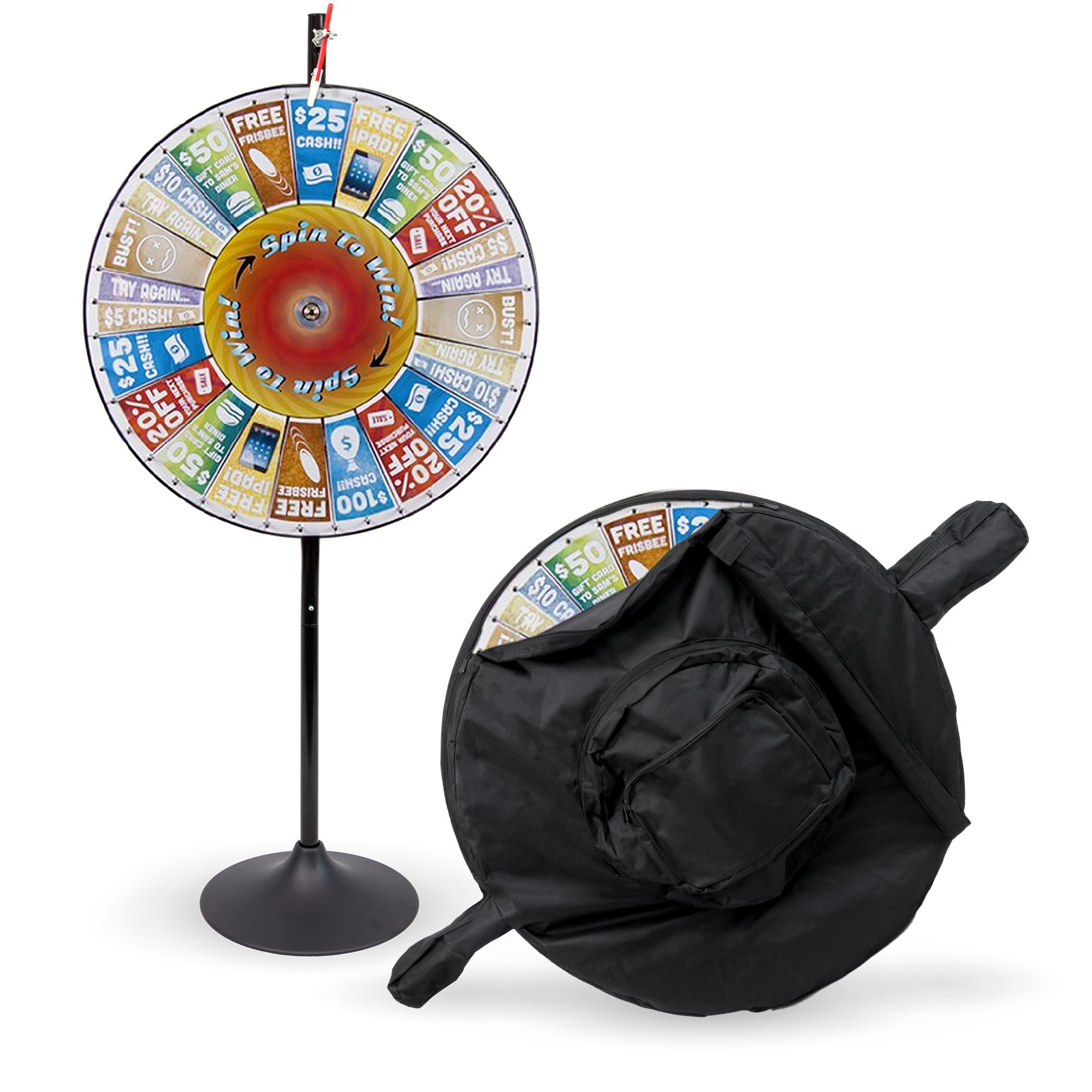 36'' Customizable Prize Pocket Insert Spinning Prize Wheel with Premium Protective Carry Bag Case, Extension Base, Extension Pole by Midway Monsters