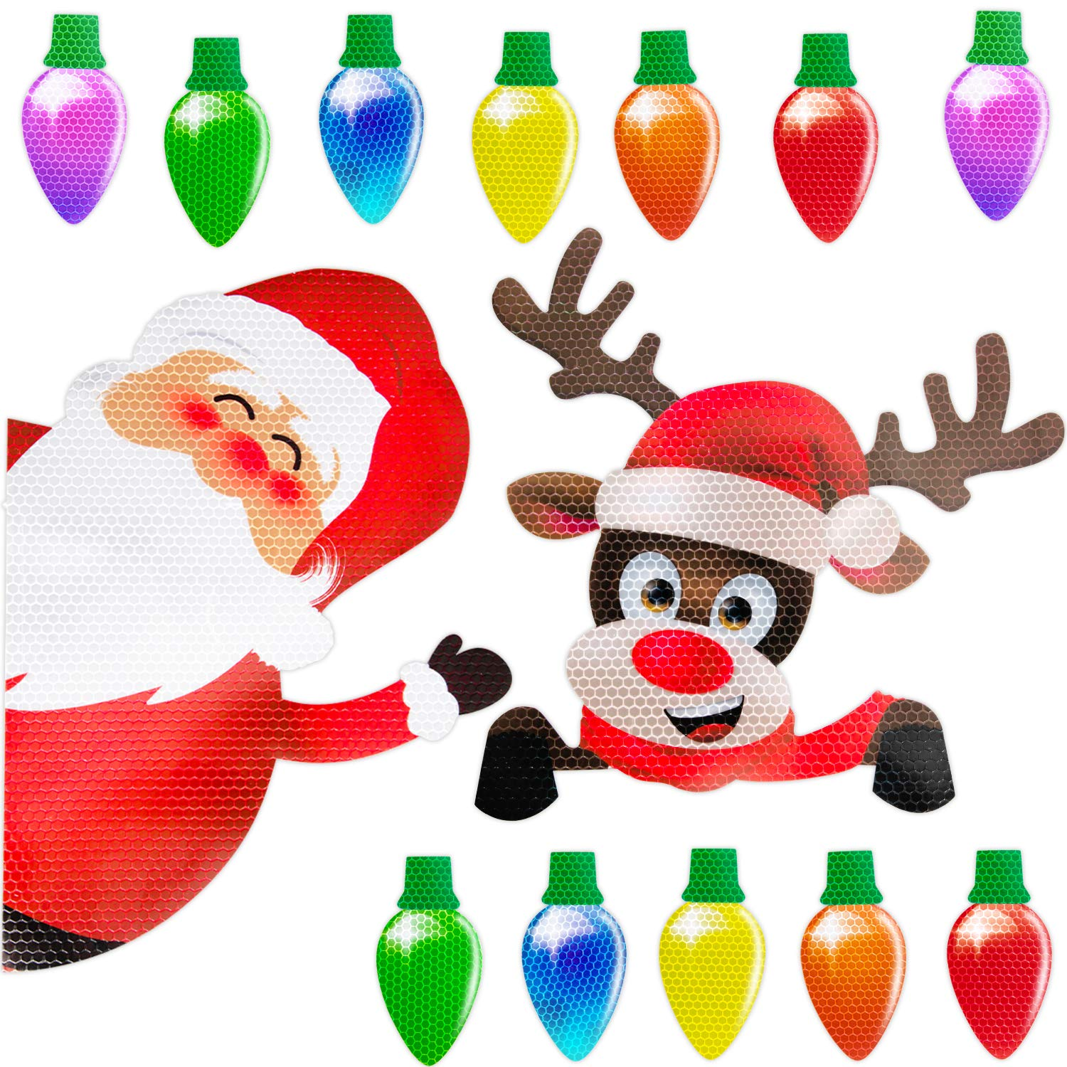 Christmas Car Refrigerator Decorations Reflective Bulb Light Santa Reindeer Magnet Accessories Set Xmas Holiday Cute Decor