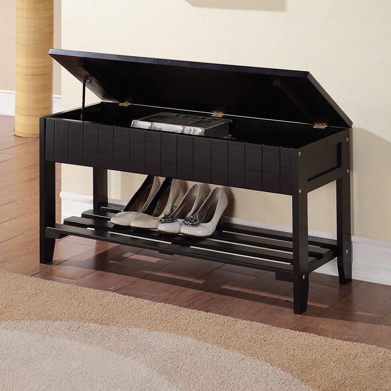 Black Finish Solid Wood Storage Shoe Bench Shelf eHomeProducts