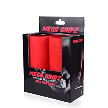 Mega Gripz - thick bar hand Grips Training increase arm size growth muscle training build bigger