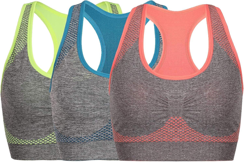 Litgo Sports Bras for Women Racerback Seamless Comfortable Yoga Gym Bra
