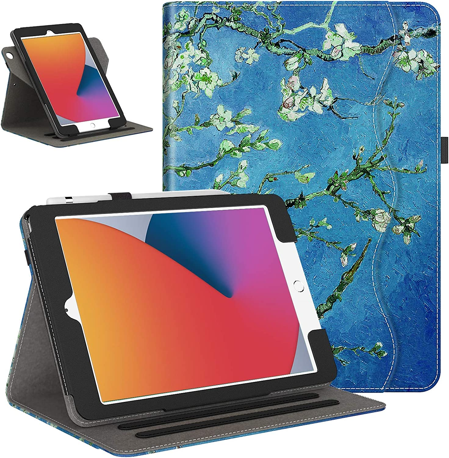 IKEVER iPad 10.2 Case 2020 8th Generation / 2019 iPad 7th Gen Case with 360 Degree Rotating, Shockproof Smart Cover for iPad 10.2 Inch, Apricot blossom
