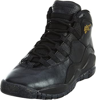 Jordan Nike Kids' Air 10 Retro Black Leather Basketball Shoe 6