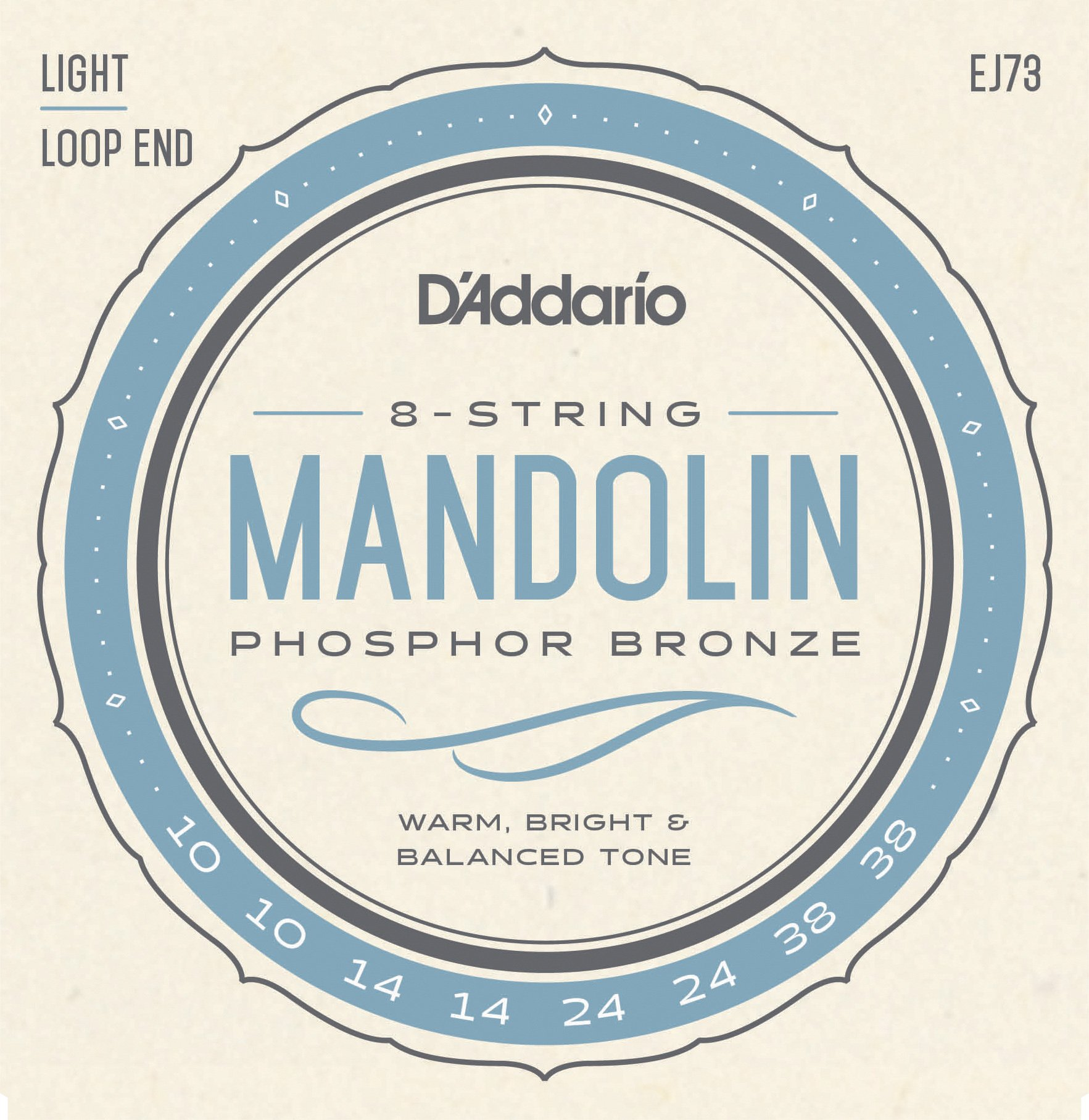 D'Addario EJ73 Phosphor Bronze Mandolin Strings, Light, 10-38