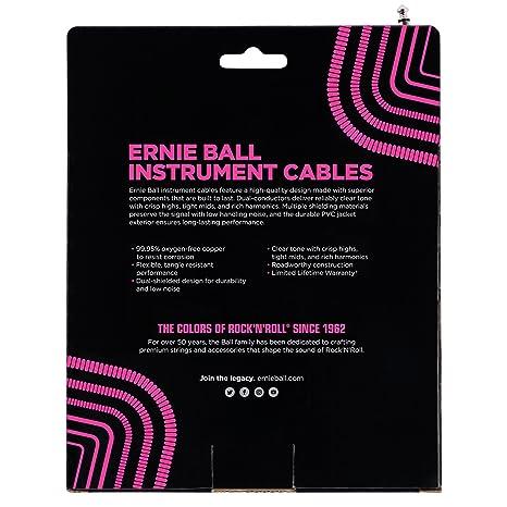 Ernie Ball 30 cable de instrumento recto/en ángulo en espiral - Blanco: Amazon.es: Instrumentos musicales