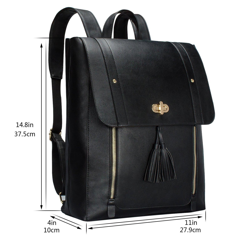 90678723f43 ESTARER Womens Backpack Purse PU Leather Rucksack Fit 14-inch Laptop School  Bag Daypack
