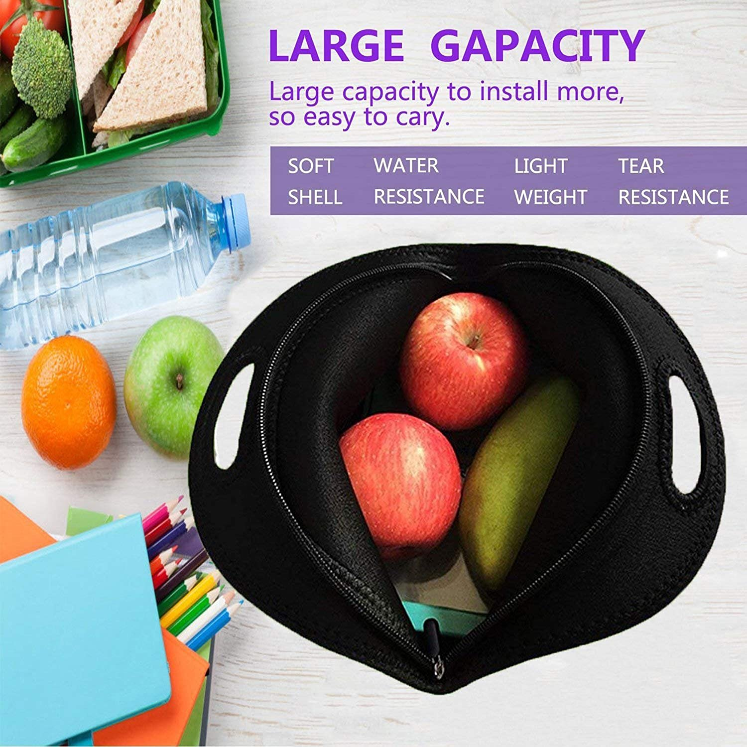 Steam Engine Train Reusable Neoprene Insulated Thermal Outdoor Picnic Lunchbox for Men Women